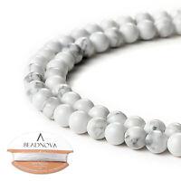 """Nature Gemstone White Howlite Round Beads 15.5"""" Strand 4mm 6mm 8mm 10mm 12mm"""