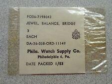 3 NOS ORD Issued Elgin 8/0 Balance Bridge Jewels For WW2 Navigation Hack Watch