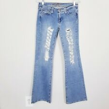 Hippie Mid Rise Light Wash Ripped Flare Jeans Size 5