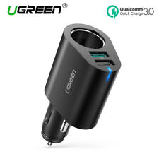 Ugreen QC 3.0 Car Charger Adapter Cigarette Lighter Splitter Dual USB for iPhone