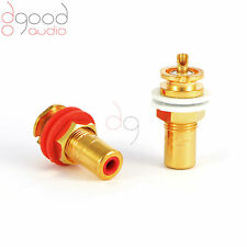 2 CMC USA Gold Plated Copper RCA Phono Chassis Sockets Solder Terminal Connector