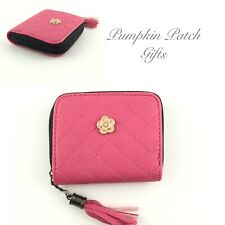 Women's Small Quilted DARK PINK Coin Purse Wallet Flower Emblem Faux PU Leather