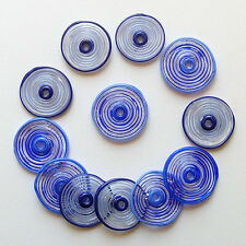 RachelArt Blue Glass Disc Beads Lampwork Spiral Handmade Artisan