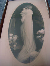 """Antique 1920's Lithograph With Art Deco Wood Frame - 16 1/4"""" X 9 1/2"""""""