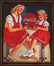 Coca-Cola: Lady and her Daughter. Vintage 50s Pin-Up Style AD Poster. Framed