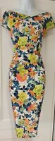 Womens Diva Catwalk Multicolour Floral Crossover Gathered Draped Bodycon Dress M