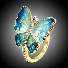 Mother's Day MOM Gift Gold Tone Crystal Butterfly Ring Women Party Jewelry New