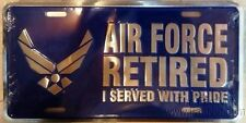 "Air Force Retired USAF Blue Wings 6""x12"" Aluminum License Plate Tag Made In USA"