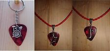 Keychain/Necklace 3 Piece Combo-Red Pick/Music Note,Drum Set,Star Charm/Red Cord