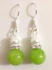 Beautiful Green Jade 10mm beaded and glass pearl Tibet silver dangle earrings