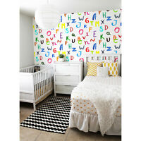 Removable Wallpaper self-adhesive Colorful letters Watercolor for kids room