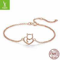 Authentic 925 Sterling Silver Bracelet Charm Bead Chain Jewelry Rose Gold Chain