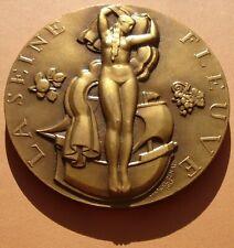RARE MÉDAILLE ART DECO LA SEINE PAR MARCEL RENARD 1936 - 60 MM BRONZE MEDAL