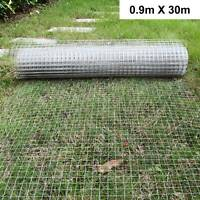 """1""""x1""""Wire Mesh Fence Chicken Rabbit Cage Hutch Aviary Galvanised 0.9*30m"""