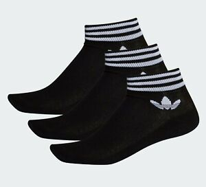 ⚫GENUINE ADIDAS ORIGINALS TREFOIL ANKLE SOCKS 3 PAIRS - Black SLEEK SPORTY