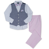 New Nautica Little Boys 4-Pc. Vest, Shirt, Pants & Bow Tie Set Reg $59.50