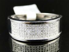 Mens White Gold Finish Genuine Diamond Pave Wedding Engagement Band Ring .50 Ct