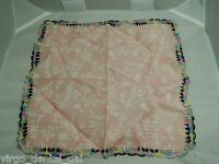 Vintage Pink Colored Rainbow Multi Colored Crocheted Linen Handkerchief
