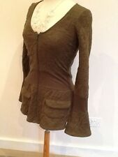 Size 8 Nobue wool blend olive green lightweight designer jacket