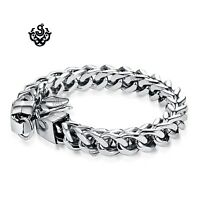 Silver stainless steel solid bikies chain thick bracelet