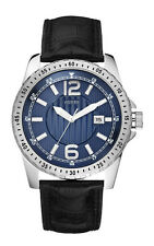 NEW GUESS SS SPORT WATCH DATE W90059G1 BLACK LEATHER STRAP BLUE NAVY DIAL NWT