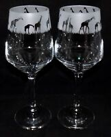 "New ""GIRAFFE"" Etched Large Wine Glass(es) -  Free Gift Box - Large 390mls Glass"