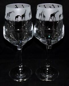 "New ""GIRAFFE"" Etched Large Wine Glass(es) - Beautiful Original Design - Gift Box"