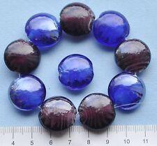 10 X ciruela y azul que gira, cristal de Murano, vidrio, Discos 20mm 44 GMS segundos 63