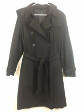 Norma Kamali XXL Womens Double Breasted Trench Coat Jacket Black Lined Belted