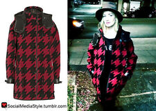 Coach 1941 Womens Black Red Houndstooth Wool Leather Hood Parka Jacket Coat S