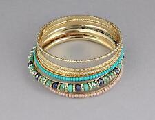 Turquoise gold bangle bracelet set 7 beaded set pack beaded
