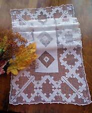Elegant Geometric Mid-Century Italian Handmade Lace Runner - Clean, Ready to Use