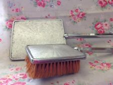Vintage Chrome Ladies Hand Mirror and Hair Brush  Made in England