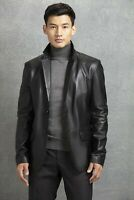 Black Leather Blazer Men Pure Lambskin Coat Jacket 2 Button Size S M L XL XXL