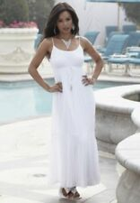 NEW WOMENS MIDNIGHT VELVET WHITE GRECIAN DRESS SIZE MEDIUM