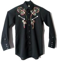 VTG Sears Western Wear Mens Shirt Black Floral M 15-15.5 Cowboy Rodeo Embroidery