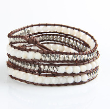Beaded Faux Leather Triple Wrap FRIENDSHIP BRACELET White Shell Pearl Beads