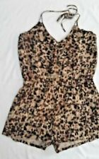 Pinky brand brown feather leopard ruffle romper spaghetti neck tie SZ Large