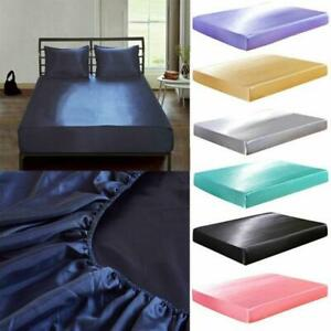 """Silk Satin Fitted Sheet Solid Color Mattress Protector Elastic 12"""" Deep Pocket"""