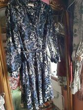 Cute Per Una Size 14 Blue Vintage Bird Floral Print Chiffon Dress