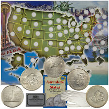 U.S. State Quarter Starter Collector Set Map Holder 5 Coins Book Glove COA Case