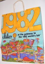 Vintage 1982 Millers Shopping Bag Knoxville World's Fair Sunsphere/UFO/Neyland S