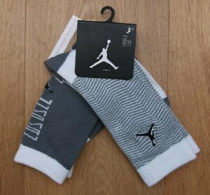 Air Jordan Boy 2 Pr High Crew Socks ~ Gray & White ~ 5Y-7Y ~ Sock Sz 9-11