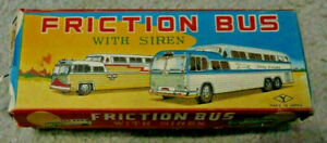 Vintage Continental Trailways Express Tin Friction Bus with Siren EX with box