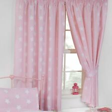 """PINK + WHITE STARS FULLY LINED CURTAINS WITH TIE BACKS GIRLS 66"""" x 72"""""""