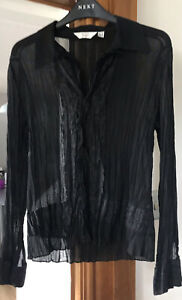 NEXT PETITE LADIES BLACK SEE THROUGH COLLARED/EMBROIDERED LONG SLEEVED SHIRT 10