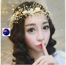 Women Gold Leaf Wedding Pearl Bride Bridal Party Hair Headband Prop Band garland