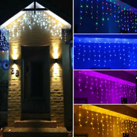 5M 216LED Icicle Snowing Curtain Party Xmas Wedding Outdoor String Fairy Lights