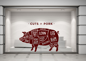 Butchers Cuts of Pork Pig Meat Joints Wall Decal Sticker Art Any Colour Any Size