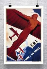 Male Figure Airplane Vintage Poster Rolled Canvas Giclee Print 24x32 in.